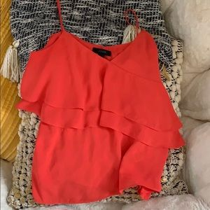JCrew Orange Ruffle Silk Tank
